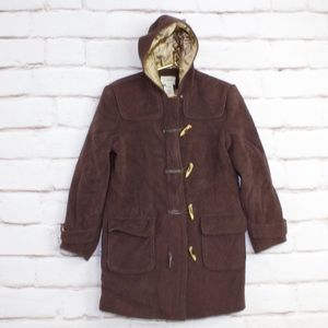 LL Bean Brown Wool Hooded Duffle Jacket Toggle M P